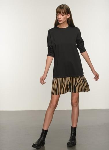 NGSTYLE NGSTYLE Kadın Zebra Desenli Günlük Elbise Siyah